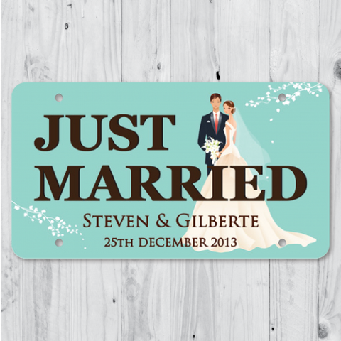 Lovely Couple - Just Married Personalized Car Plate