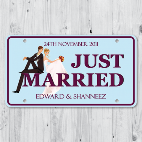 Lover's Gaze - Just Married Personalized Car Plate