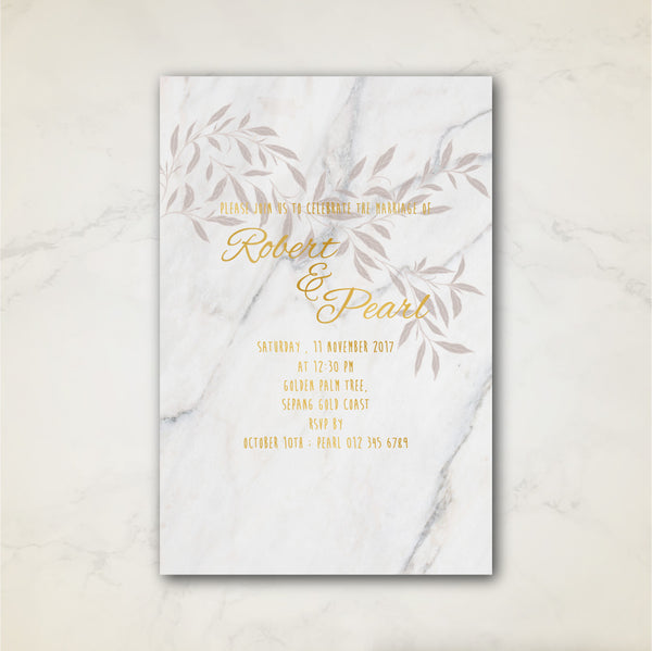 Marble Leaves - Wedding Invitation Card