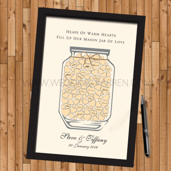 Mason Jar of Hearts - Wedding Guestbook Alternative