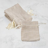 Mini Linen - Burlap Wedding Favours Drawstring Bag