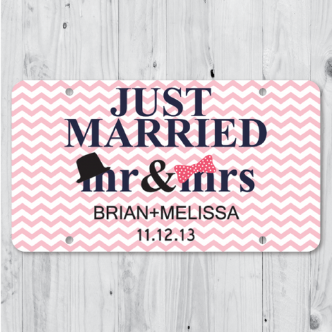 Mr & Mrs - Just Married Personalized Car Plate