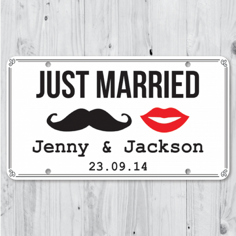 Mustache & Lips - Just Married Personalized Car Plate