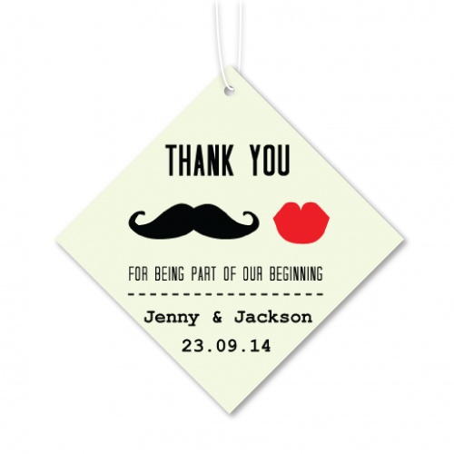 Mustache and Lip - Personalized Wedding Favours Tag
