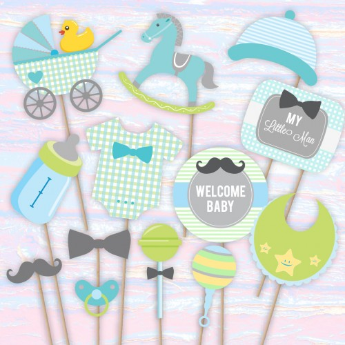 My Little Man - BOY Baby Shower Photo Booth Props