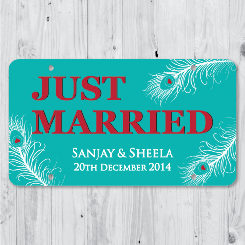 Peacock Feather - Just Married Personalized Car Plate