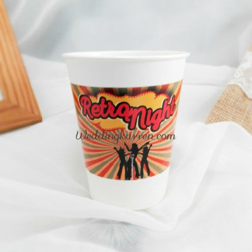 Retro Theme - Party Paper Cup Label
