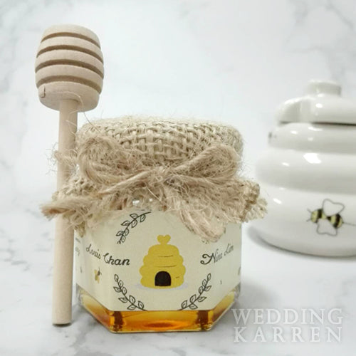Rustic Burlap -  Mini Honey Wedding Favours