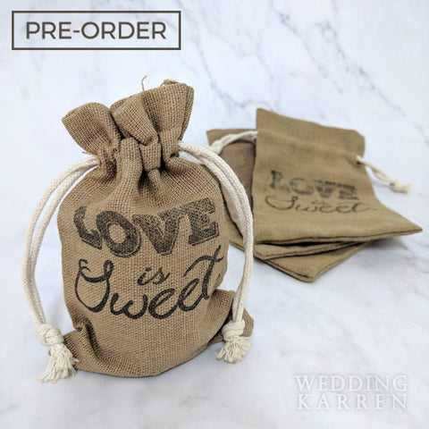 Rustic Burlap - Personalized Wedding Favours Bag