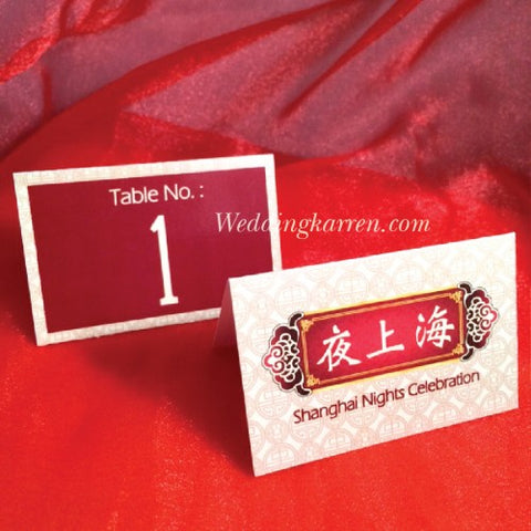 Shanghai Night Theme - Table Number Card