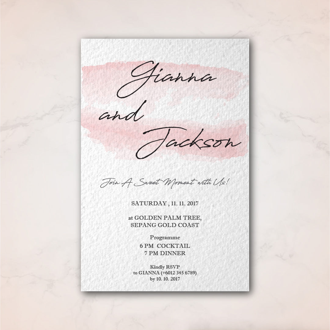 Wedding Invition Cards.Simple Watercolour Stroke Wedding Invitation Card Wedding Karren