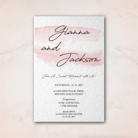 Simple Watercolour Stroke - Wedding Invitation Card