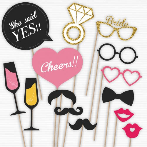 sparkly champagne bridal shower photo booth props wedding karren