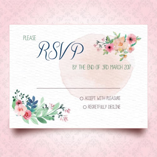 Spring Floral Watercolour - Wedding RSVP Card