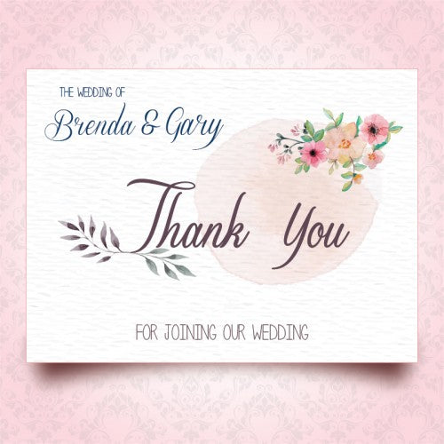 Wedding Thank You Cards.Spring Floral Watercolour Wedding Thank You Card Wedding Karren
