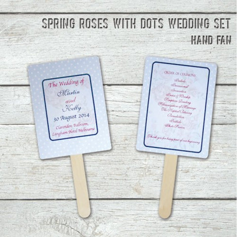 Spring Rose - Personalized Wedding Program Fan