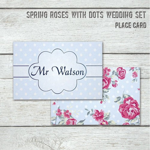 Spring Rose - Wedding Place Card