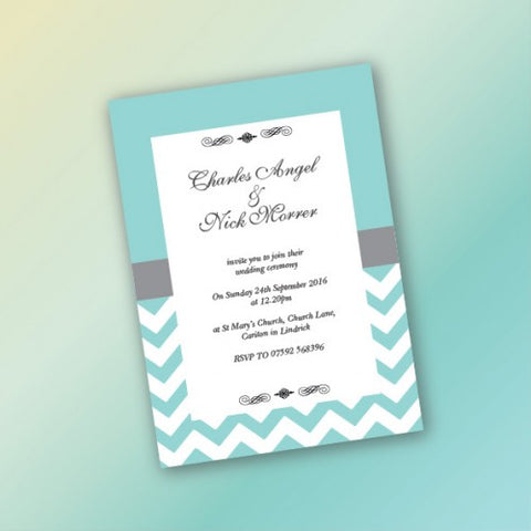 Tiffany Chevron - Wedding Invitation Card