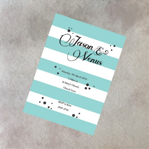 Tiffany Stripes  - Wedding Invitation Card