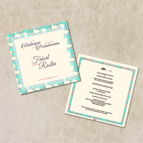 Traditional Batik BLUE Wedding Invitation Card Wedding Karren