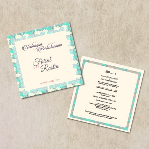 Traditional Batik - BLUE Wedding Invitation Card