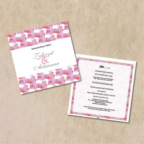 Traditional Batik - PINK Wedding Invitation Card