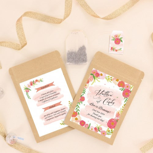 Vintage Floral Personalized Tea Bag Wedding Favours