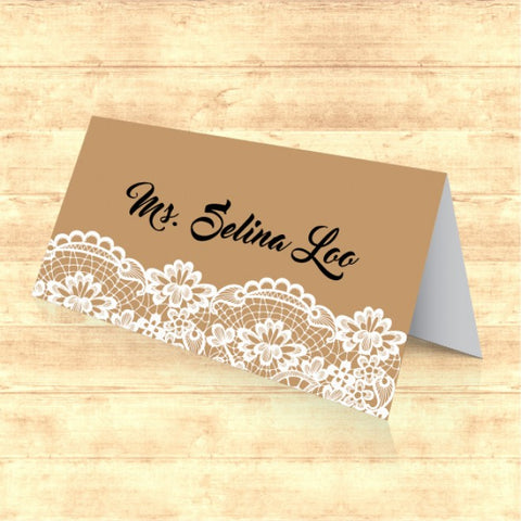Vintage Kraft with Lace - Wedding Place Card