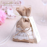 Vintage Lace - Burlap Wedding Favours Drawstring Bag