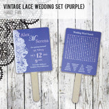 Vintage Lace - Personalized Wedding Program Fan