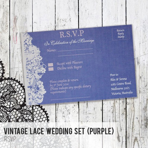 Vintage Lace - Wedding RSVP Card
