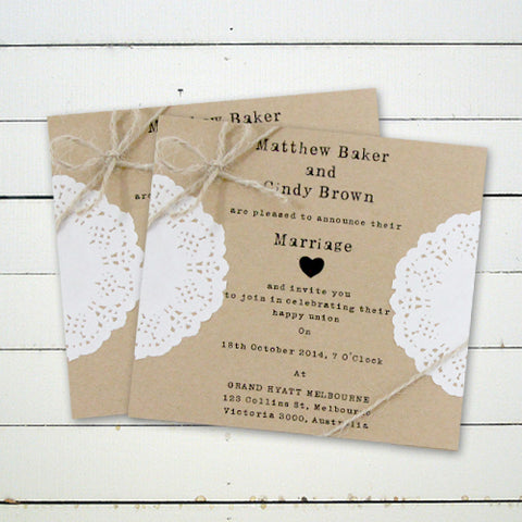 Vintage Rustic Kraft - Wedding Invitation Card
