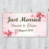 Water Blossom - Just Married Personalized Car Plate