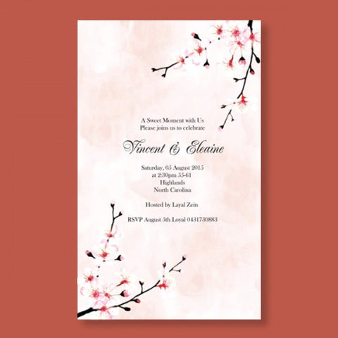 Watercolour Cherry Blossom - Wedding Invitation Card