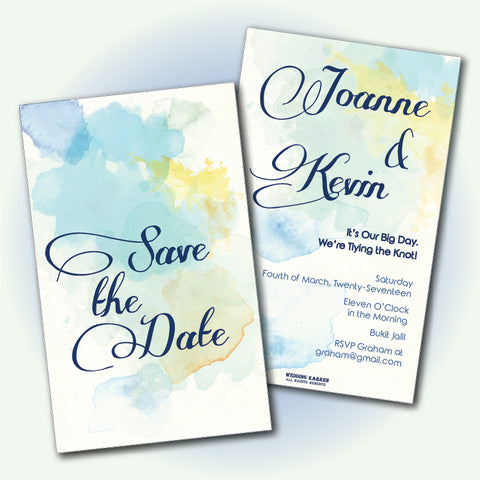 Watercolour Splatter - Wedding Invitation Card