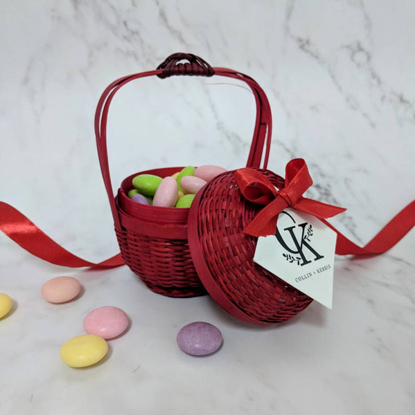 Weave Bamboo Basket - RED Packaging Wedding Favours
