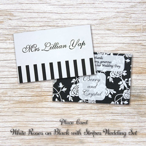 White Rose - Wedding Place Card