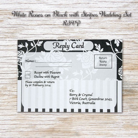 White Rose - Wedding RSVP Card