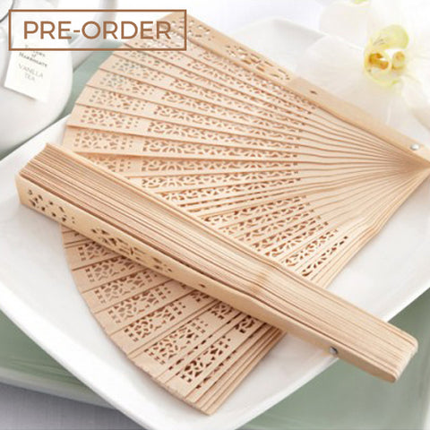 Wooden Carve - Hand Fan Wedding Favours