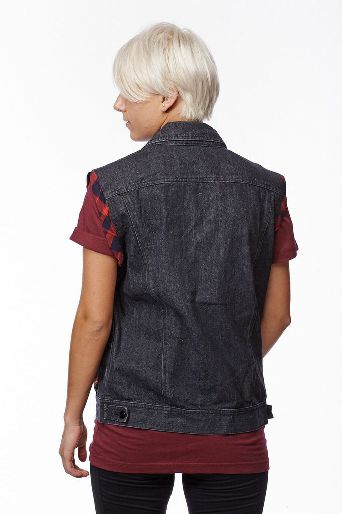 Plaid Denim Sleeveless Vest