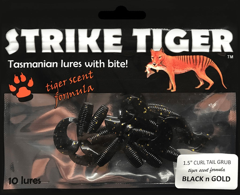"Strike Tiger 1.5"" curl tail grub - BLACK N GOLD (10 pack)"