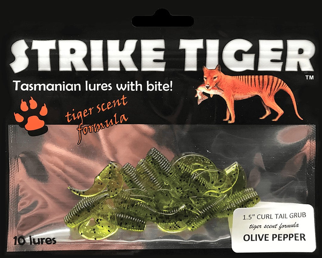 "Strike Tiger 1.5"" curl tail grub - OLIVE PEPPER"