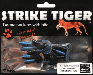 "Strike Tiger 1.5"" curl tail grub BLUEBOTTLE"