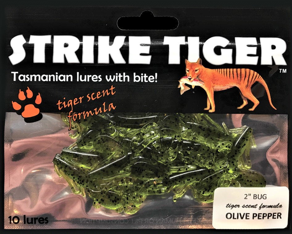 Strike Tiger 2 inch bug Olive Pepper
