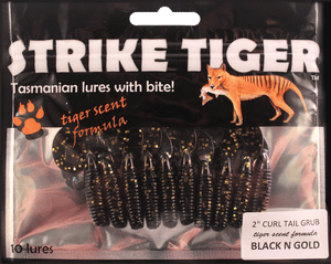 Strike Tiger 2 inch curl tail grub BLACK N GOLD