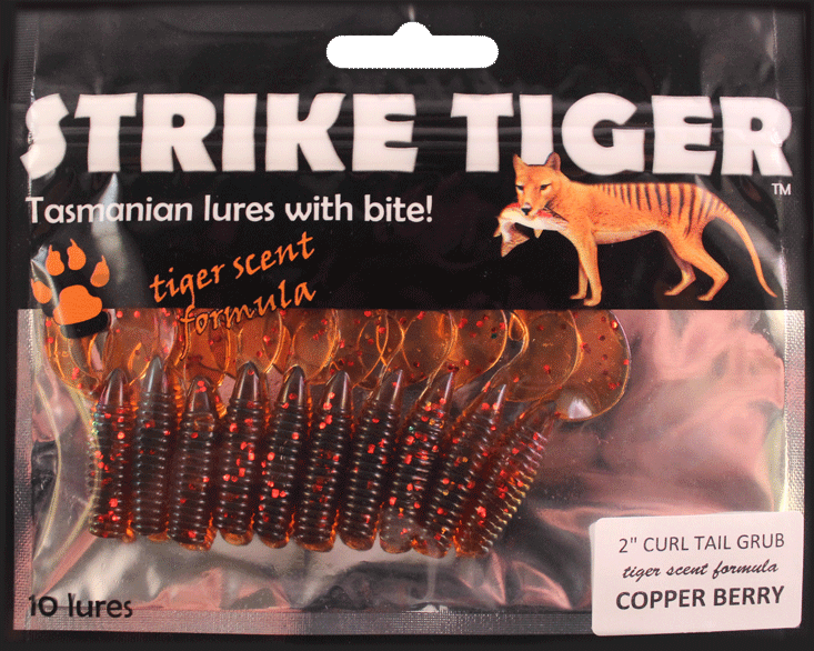 Strike Tiger 2 inch curl tail grub COPPER BERRY