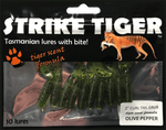 Strike Tiger 2 inch curl tail grub OLIVE PEPPER