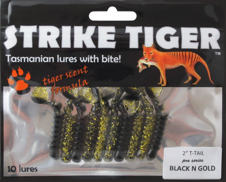 "Strike Tiger 2"" t-tail pro series BLACK N GOLD"