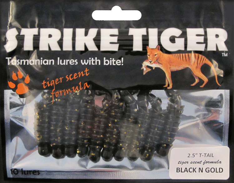 "Strike Tiger 2.5"" t-tail BLACK N GOLD"