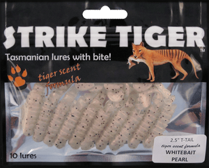"Strike Tiger 2.5"" t-tail WHITEBAIT PEARL"
